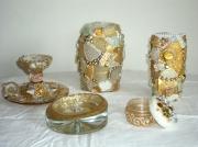 deco design autres objets en mosaique blanc or nacre : Ensemble d'objets Blanc et or