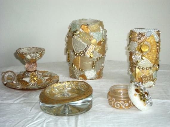DECO, DESIGN Objets en mosaïque Blanc, or, nacré  - Ensemble d'objets Blanc et or