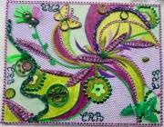 tableau autres rse verts violet evocation onirique techniques mixtes : L'envol du papillon