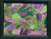 tableau fleurs vitrail mosaique vert mauve rose sur verre en relief : Transcendance