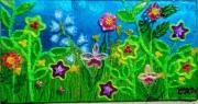 tableau fleurs scene bucolique fleurs herbes ciel multicolore : Champêtre