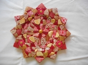 deco design autres rouge blanc or assiette murale ou ,a etoile flamboyant : Assiette étoile