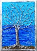 tableau bleu 3d relief figuratif symbolique arbre mer : Arbre de vie