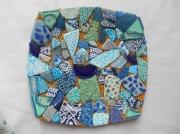 deco design abstrait cmaieu de bleus et o mosaique assiette murale ou ,a : Assiette murale ou à poser