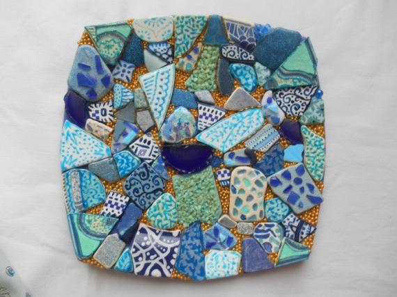 DéCO, DESIGN cmaieu de bleus et O Mosaïque Assiette murale ou à Abstrait  - Assiette murale ou à poser