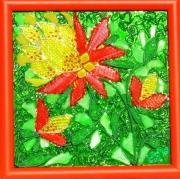 tableau fleurs rouge vert jaune fleurs vitrailmosaique sur : Fleurs