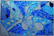 tableau abstrait bleu reliefs technique mixte collage et peinture : L'étoile de La Londe