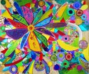 tableau fleurs multicolore matieres et reliefs evocation vitrail techniques mixtes : La résurrection de Notre Dame