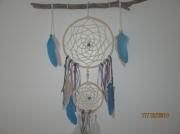 artisanat dart bois flotte dentelle rotin plumes : bleuet
