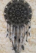 artisanat dart coton crochet plumes perles : ying-yang