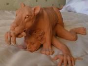 sculpture animaux animal lionne femme erotique : nu lionne destination inconnue