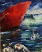 tableau scene de genre naufragers mer sauvetage : aquarius