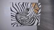 tableau animaux zebre papillon deco toile : Zèbre