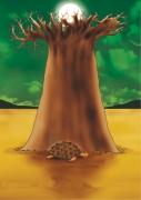 art numerique paysages baobab torture sol soleil : Le baobab