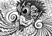 tableau abstrait monocle spirale fractal bizarre : Monocle
