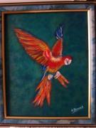 tableau animaux oiseau couleurs vives sur fond bleu : L'oiseau des Iles