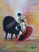 tableau scene de genre torero taureau : Le Toréro