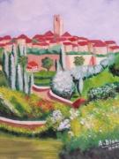 tableau paysages provence village jardins : Jardins en Provence