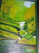 tableau paysages sousbois arbres cascade : le sous-bois