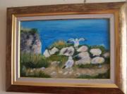 tableau paysages falaise rochers mouettes mer : Côte Normande