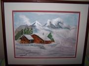 tableau paysages montagne chalets sapins : A la montagne