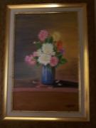 tableau fleurs bouquet fleurs vase : Bouquet de dahlias