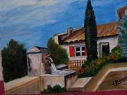 tableau paysages fontaine mas provencal cipres : Fontaine provençale