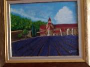 tableau paysages abbaye champ de lavande : Abbaye provençale