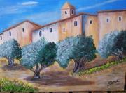 tableau paysages provence village oliviers : Le village aux oliviers