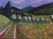 tableau paysages chemin montagne : Sentier en montagne