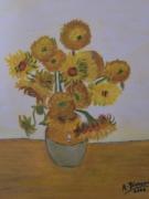 tableau fleurs fleurs orange vase : Les tournesols