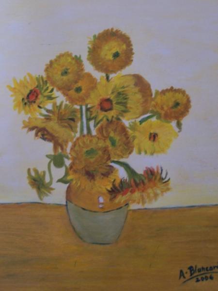 TABLEAU PEINTURE fleurs orange vase Fleurs Acrylique  - Les tournesols