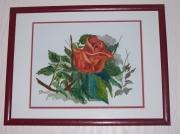 tableau fleurs rose feuillage vert : La rose