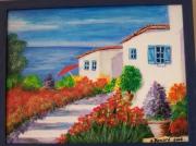 tableau paysages maisons mer fleurs : La provence