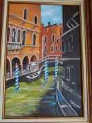 tableau paysages maisons gondoles pont : Venise