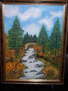 tableau paysages torrent sapins nature : Le torrent