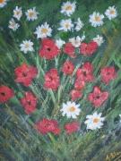 tableau fleurs paquerettes coquelicots : Fleurs des champs