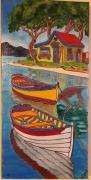 tableau scene de genre paysage landscape : Bord de mer