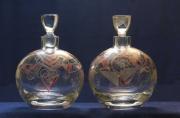 ceramique verre abstrait flacon rond verre gravure : BIZANCE