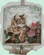 deco design chat peint ,a la main objet peint artisana decoration vintage peinture artisanat d : Joli matou!