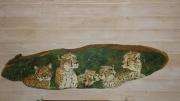 tableau guepard felins chats artisanat d art peinture animaliere deco vintage relooke : Les guépards
