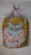 artisanat dart animaux chat peint peinture animaliere bois peint tableaux gouache : Majestueux!