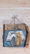 artisanat dart animaux chat peint tableaux artisanat d art peinture animaliere deco vintage relooke : Chats Lecteurs