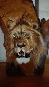 tableau animaux felin peint sur bois artisanat d art peinture animaliere deco vintage relooke : Le Roi!