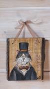 tableau animaux chat peint peinture animaliere cadeaux tableaux felin unique : Sherlock!