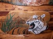 tableau animaux felin peint sur bois artisanat d art peinture animaliere deco vintage relooke : Profil du tigre