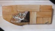 tableau animaux chat peint peinture animaliere bois peint artisanat d art : Cache cache!