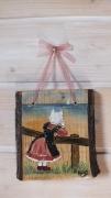 tableau animaux chat peint sur bois artisanat d art peinture animaliere deco vintage relooke : Demoiselle à la mer