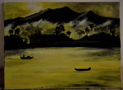tableau paysages jonques asie brumes : Asia