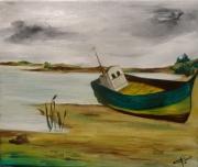 tableau marine bateau plage : Exil